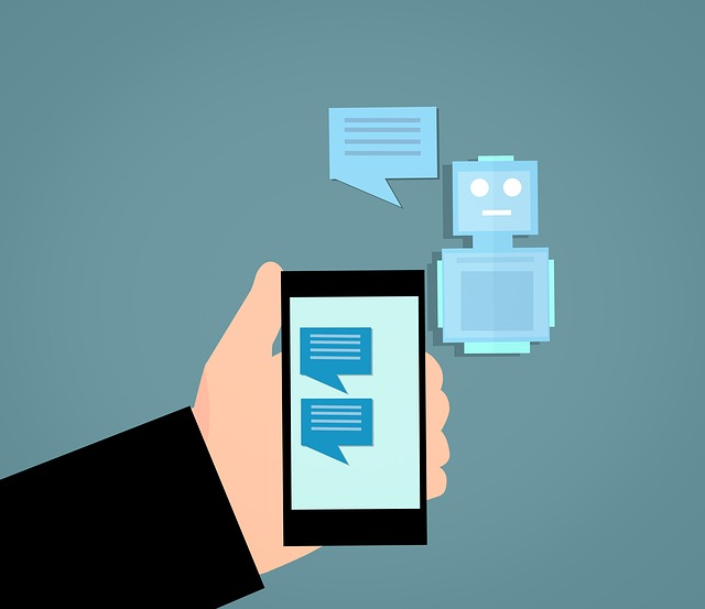 mobile phone with chatbot messages on screen